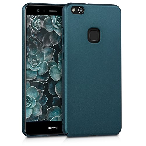 Custodia per Huawei P10 Lite - kwmobile Back Cover antiscivolo con superficie Grip - Hard Case per telefono cellulare - Hardcover petrolio metallizzato