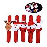 BESTOYARD Pulseras Slap Navidad Muñeco de Nieve Reno Oso Diseño Pulsera Fiesta de Navidad Favorece Decoración LED Luminoso Slap Ring Party Props 5 Pack (Aleatorio)