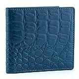 A.P. Donovan - Exklusive Geldbörse aus Krokodil-Leder für Herren ohne Münzfach - Geldbeutel - Geldtasche - Portemonnaie - Kreditkarten-Etui - Blau, 11cm x 9,5cm x 1,5 cm