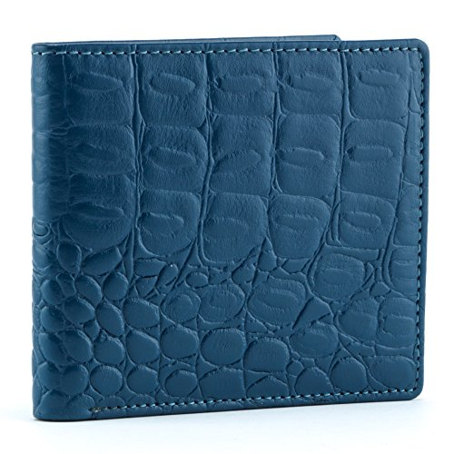 A.P. Donovan - Exklusive Geldbörse aus Krokodil-Leder für Herren ohne Münzfach - Geldbeutel - Geldtasche - Portemonnaie - Kreditkarten-Etui - Blau, 11cm x 9,5cm x 1,5 cm -
