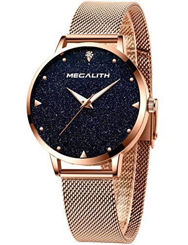 Damen Uhr Damenuhren Wasserdicht Rose Gold Edelstahl Mesh Armbanduhr Mode Klassisch Dünne Analog Quarz Echtes Blau Marmor Zifferblatt Uhr für Frauen