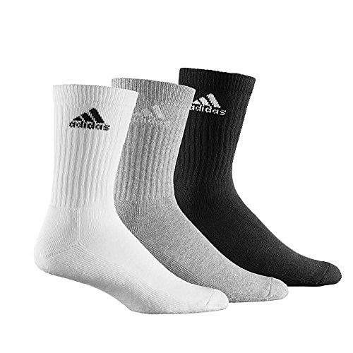 Adidas adicrew confezione da 3calzini sport imbottiti Mixed colore: bianco/nero/grigio, Uomo, Mixed, UK 11, 5-14