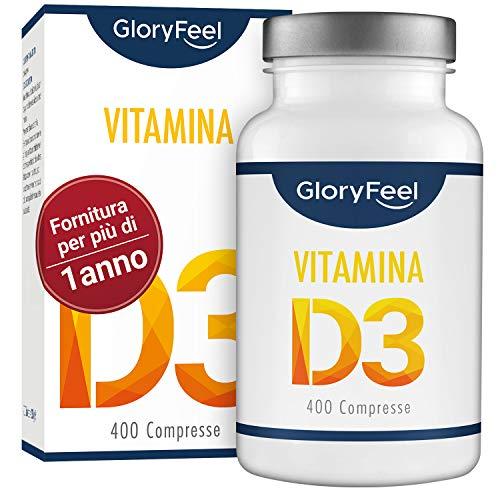 Vitamina D 1000 IU - 400 Compresse facili da inghiottire | Fornitura per più di 1 anno | Integratore Vitamina D3 de GloryFeel