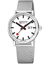 Mondaine Men's evo2 40 mm sapphire Big Date Watch with St. Steel brushed Case white Dial and stainless steel mesh Strap MSE.40210.SM