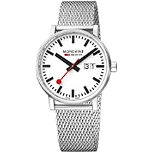 Mondaine evo2 40 mm sapphire Big Date Watch with St. Steel brushed Case white Dial and stainless steel mesh Strap MSE.40210.SM