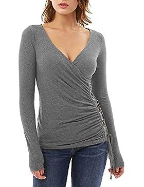 Longra Donna Cotone Blend Casual Spring, Autunno V-collare perforazione sottili cinghie a maniche lunghe in cotone