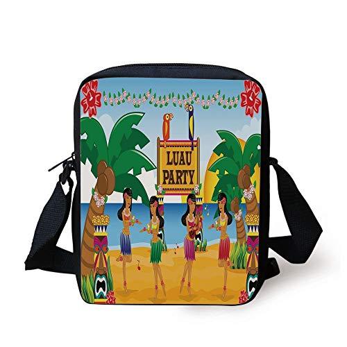 ian Luau Party in Cartoon Style Dancers on Beach Festive Tradition Decorative,Multicolor Print Kids Crossbody Messenger Bag Purse ()