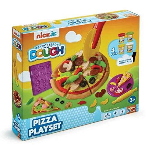 Nick Jr - Ready Steady Dough - Pizza Playset - Pizzaparty + 4 Dosen Knete und Zubehör