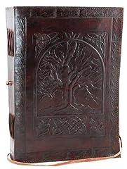 Idea Regalo - S Bazar, grande diario o agenda in pelle con albero della vita, pagine bianche, stile vintage semplice, colore marrone
