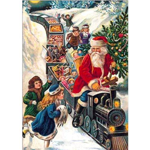 ZHANSANFM DIY 5D Diamant Malerei Set Weihnachtsmann Weihnachten Festlich Bild Muster Diamond Painting Bilder Kits Craft Strass Stickerei Gemälde Für Home Wand Decor gemälde Kreuzstich (A, 30x40cm) -