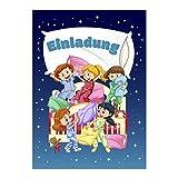 16 Einladungskarten zum Kindergeburtstag - Mit Übernachtung - für Übernachtungsparty, Geburtstagseinladungen im Set