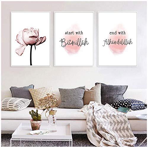 xwlljkcz 3 Stück Allah Bismillah Islamische Wandkunst Leinwand Malerei Poster Blumendruck Nordic Dekorative Bild Moderne Wohnzimmer Wohnkultur 50x70 cm Kein Rahmen -