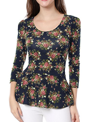 Allegra K Damen Rundausschnitt 3/4 Ärmeln Blumen Muster Peplum Top Shirt Bluse, Navy Blau/XL (EU 48) (3/4 Ärmel Puff Top)