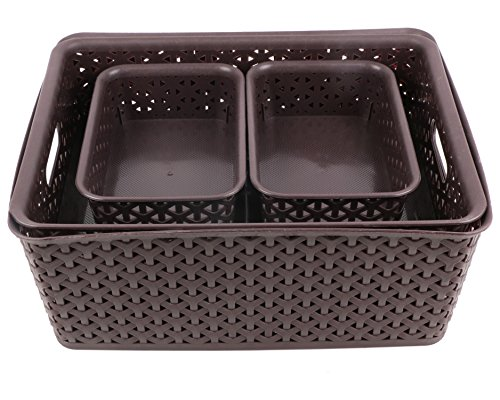 Miamour 4 Piece Plastic Crate, Brown