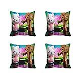 meSleep Pfau Rani 3D Kissenbezug Set von 4Pcs Multicolor Werfen Indischen Betten Quadratisch Sofa Kissen Fall 30,5cm 40,6cm 45,7cm 50,8cm 55,9cm Art Deco 22