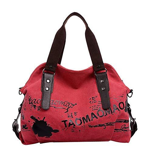 Cloom zaino donna, zaino casual moda da donna moda femminile grande capacità borsa retrò borsa a mano stundent messenger bag moda stile cinese stampa portatile borsa(rosso,1pc)