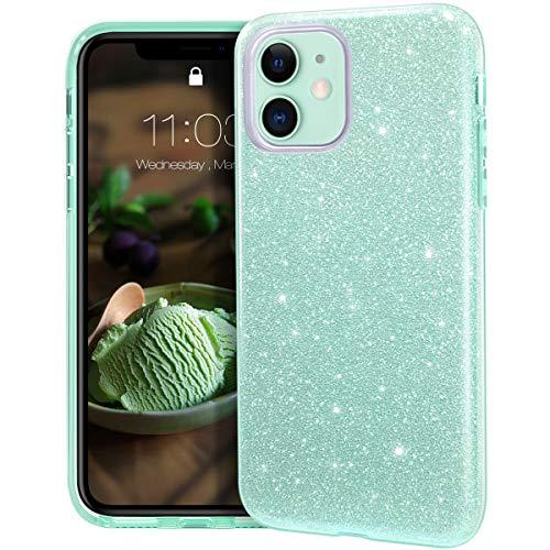 Mateprox iphone 11 custodia trasparente cover ragazze sottile e sottile lucida glitter scintillante custodia per iphone 11 6.1 inch (verde)