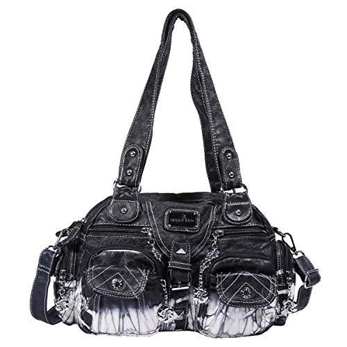 angel kiss Damen Handtaschen Weiches PU Leder Schultertaschen Henkeltaschen Umhängetaschen mit Taschen Vielen Fächern Schwarz