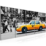 Bild 200 x 80 cm - Taxi New York Bilder- Vlies Leinwand - Deko für Wohnzimmer -Wandbild - XXL 5 Teilig Teile - leichtes Aufhängen- 804855a