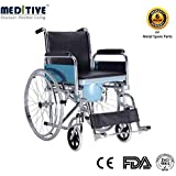 MEDITIVE Commode Wheelchair With : Chrome Plated Stainless Steel With Inbuilt Commode Pot And Flip Back Armrest...