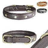 Pear - Tannery Fashion-Line Hundehalsband aus weichem Vollrindleder, Versehen mit Einer Stern-Verzierung mittig, S 36-46cm, Schokoladenbraun