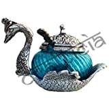 OXIDISED WHITE METAL SILVER SINGLE DUCK SHAPE RED GLASS BOWL TRADITIONAL HANDICRAFT DECORATIVE GIFT ITEM PLATTER BURNI SHOWPIECE