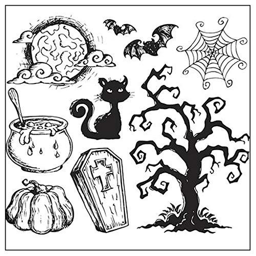 ECMQS Fröhliches Halloween DIY Transparente Briefmarke, Silikon Stempel Set, Clear Stamps, Schneiden Schablonen, Bastelei Scrapbooking-Werkzeug