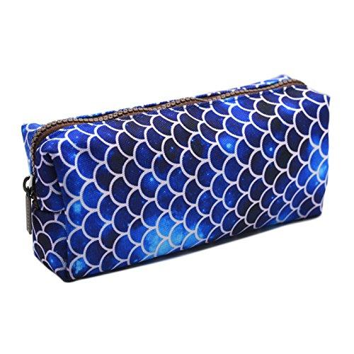 LParkin super großes Meerjungfrauen-Federmäppchen aus Leinen, für Stifte, auch als Make-Up-/Kosmetik-Täschchen geeignet, für Schüler/Studenten dunkelblau