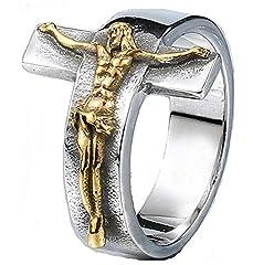 Idea Regalo - KIMCNB Banda Crocifisso Anello dei monili dell'Annata in Acciaio Inox Gesù Croce per Uomo Anelli