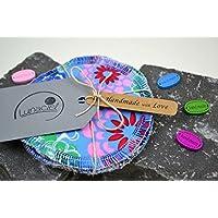 Peelingpads aus Bio-Baumwolle, 5 Stück, Kosmetikpad, Abschminkpad, Reinigungspad, bunt, creme, beige, natur, rosa, grün, blau, rot, Geschenke für Sie, für die Mama, zur Geburt