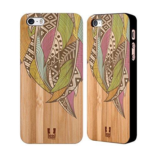 Head Case Designs Azteke Tribal Federn Hülle mit Rückseite aus Bambus Holz für Apple iPhone 6 / 6s Neon Pfeil