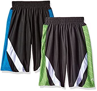 CB Sports Little Boys' 2 Mesh Athletic Shorts, Pack Neon Tuirquoise/Neon Lime, 4