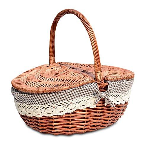 Wicker gefüttert Picknickkorb mit Deckel und Griff natürliche Weide gewebt Einkaufscamping Speicherkorb Korb klassischen Vintage Landhausstil - klein (Kleiner Korb Griff)