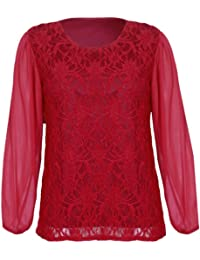 4555bcafa883f Womens Chiffon Sheer Lace Mesh Full Sleeve Ladies Round Neck Stretch Lined  Floral Blouse Top Plus