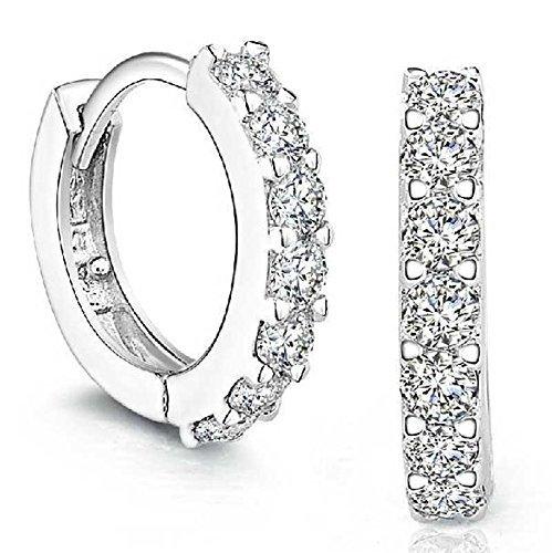 Yazilind Rhinestones perno prisionero del aro de diamante; Pendientes de plata de ley para la Mujer