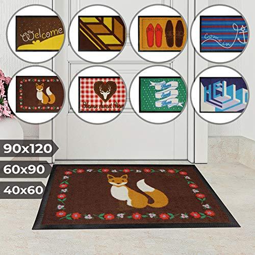 Jago Fußmatte für Eingangsbereiche   in acht verschiedenen Designs und DREI Größen   Türvorleger, Fußabtreter, Schmutzfangmatte, Schuhabstreifer (60 x 90 cm, Hr. Fuchs)