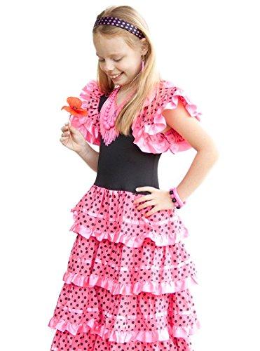 La Senorita Spanische Flamenco Kleid / Kostüm - für Mädchen / Kinder - Rosa / Schwarz - Größe 128-134 - Länge 85 cm / für 7-8 (Zubehör Kinder Verkleiden)