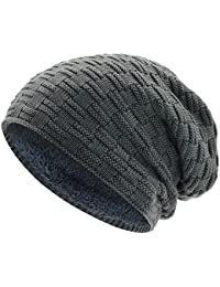 WinCret Gorros de Punto para Hombres Teddy Fleece Forro Invierno Cálido Sombrero - Unisex Larga Beanie
