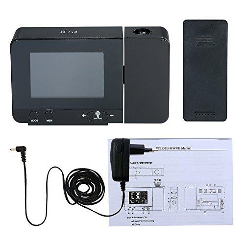 Festnight Multifunktionale Digital Wecker LCD Funkgesteuerte Projektionswecker mit Wetterstation Temperatur Kalender Anzeige Dual Alarm USB Ladefunktion AC100-240V