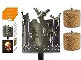 Fackel Gartenfackel Hirsch 140 cm Feuerschale Metall + Stiel + 2 x Brennmittel 63601 F77