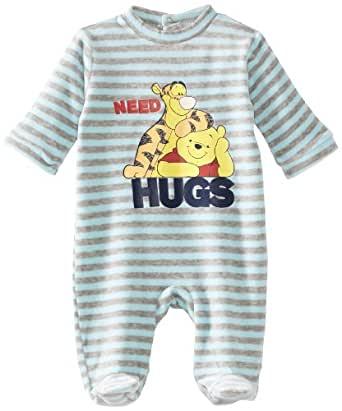 Winnie the Pooh Baby Sleepsuit Pale Blue Stripes/Grey Stripes 18 Months
