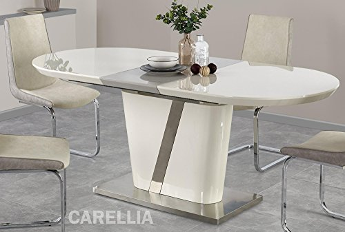 Table A Manger Design Extensible 160÷200 CM x P : 90 CM x H : 76 CM - Couleur : Gris/Creme