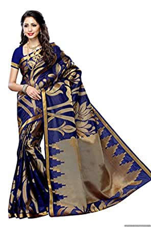 MIMOSA Women's Silk Saree with Blouse Piece, Free Size (163-NAVY)