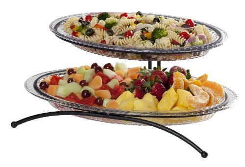 CreativeWare 2-Tier Buffet Server, Includes 1 Small and 1 Larger Platter by Creative Bath Products, Inc -