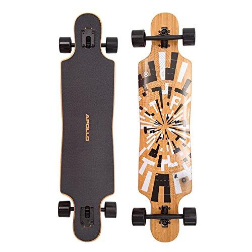 Apollo Twin-Tip Drop-Thru Longboard, Soul Bamboo, Flex 1, 101,8 cm (40inch) x 24 cm (9,5inch) - Bambus-longboard Skateboard