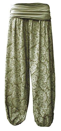 Damen LEICHTE DAMEN HOSE Sommerhose Pumphose Strandhose im Harem mit Blumenmuster Oliver-Weiß