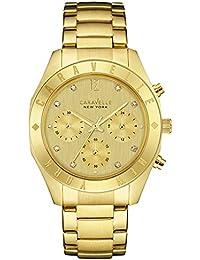 Caravelle New York Gold Boyfriend–Reloj de cuarzo para mujer con cronógrafo y dorado Pulsera de acero inoxidable 44l213