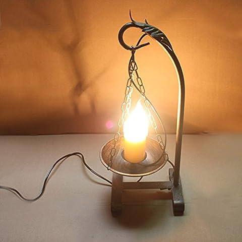 Retro Eisen Tischlampe Kerzen Tischleuchte Dekorative Tischlampe für Restaurant, Bar, Bar, Café, Restaurant 46cm * 17cm * 14cm E14 * (Moderne 3 Tier Beleuchtung)