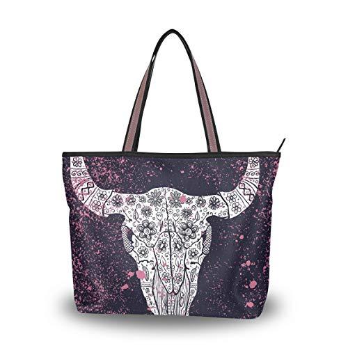 Große Hobo Geldbörsen (Emoya Fashion Damen Handtasche Bull-Totenkopf Blumen Grunge Punkte Frauen Mode Schultertasche Hobo Griff Geldbörse L, Mehrfarbig - multi - Größe: Large)