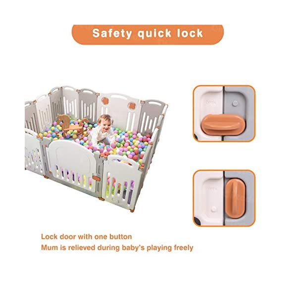 Baby Playpen,Foldable Playpen with Gates Activity Center Safety Play Yard for Babies and Kids - 14+2 Panel HDPE Indoor Outdoor Playards Fence Set Birtech 💝👼🏩Baby Playpen with Safety Material 💝👼🏩Crafted with high quality non-toxic commercial grade HDPE material widely utilized for every day products,BPA free and non-recycle material with HDPE, no any odor, perfect for your baby. 💝👼🏩Baby Playpen to Free You Hands💝👼🏩Cooking/housework or just want to rest inside the house for a while, a playpen is a great idea. You will have a play center to keep your baby safe and entertained. You can set it up easily and your kids can use their play area right away. 💝👼🏩Flexible Shape💝👼🏩You can use all 14+2 panels or less, it's up to you, this feature along with the ability to shape it be it square, rectangle, hexagon or octagon will fit anywhere in your house. 6